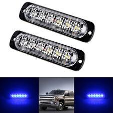 2X 6-LED Emergency Flashing Safety Warning Strobe Lights Car Truck Vehicle Blue