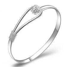Women's Hot Sweet Silver Plated Cuff Charm Wrist Bracelet Bangle Jewelry Gift