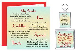 Auntie Verse from a Child Gift Set - Card, Keyring & Magnet - Birthday Present