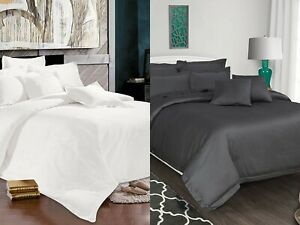 500 Thread Count Egyptian Cotton Oxford Style Duvet Cover Set With Pillowcases