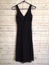 Bisou Bisou Long Black Sequence V-Neck Cocktail Dress Size 4