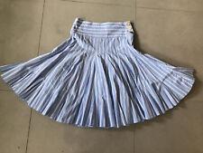 JOULES FANFARE Skirt Blue & White Stripes SATIN  Full Pleat Cotton  Size 8