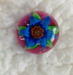 Art Glass PAPERWEIGHT BUTTON, Blue Flower Design #2606