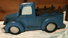 Rustic Antique Country Style Blue Metal Pick-up Truck Flower Planter Display