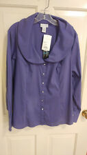 Womens SOFT SURROUNDINGS Elizabeth Blouse Purple Double Wire Collar Sz XL NWT