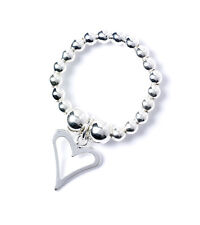 Ring with Open Heart Charm Rtr003 925 Sterling Silver Ball Bead Toe