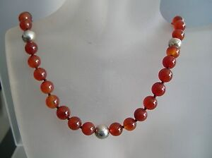 Vintage 7.5mm Carnelian w/7.8mm sterling silver beads & clasp necklace 17.5""