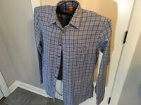 Hugo Boss Men's Boss Orange Long Sleeve Button Front Plaid Shirt Blue Size XL