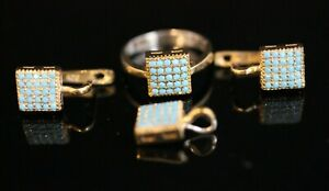 Turkish Handmade Sterling Silver 925 Turquoise Set Ring Earring Pendant  7 8 9