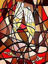 PAINTING ABSTRACT MOSAIC PATTERN CHAMPAGNE GLASSES STAINED GLASS POSTER BMP10098