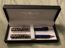New Pierre Cardin Pen & Pencil Set Filigree Pattern With Marbleized Blue Trim