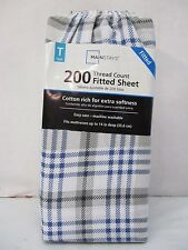 mainstays 200 thread count twin fitted sheetblue plaid new