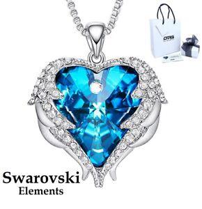 Collana Donna Swarovski Elements Originale Cuore Dell'oceano Ali D'Angelo Blu