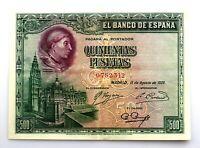 Spain-Billete. Cardenal Cisneros. 500 Pesetas. 1938. Sin serie. MBC+/VF+. Bonito