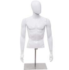 Male Mannequin torso form half body Head Turn, plastic with Base, White