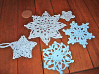 Christmas Ornament Handmade Crochet Blue Star Snowflake LOT OF 5