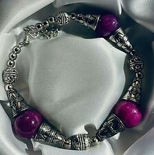 "Tibetan silver bracelet with purple agate beads 8-9.25"" in Free Gift Box Plum UK"