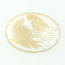 Crumrine American Flag & Eagle Belt Buckle - Bronze Patriotism Made in U.S.A.