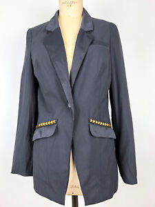 Free People Women's Grey Blazer Size 8 For Work Office Career Gray