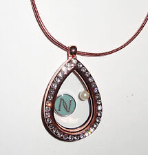 Rose G Teardrop Charm Locket w FREE Nerium Inspired Charm- Fit Origami Owl Charm