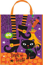 Halloween Spooky Party Supplies 1 Witch Cat Tote Trick or Treat Loot Lolly Bag