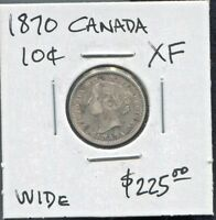 CANADA - BEAUTIFUL HISTORICAL QV SILVER 10 CENTS 1870 - WIDE 0, KM# 3