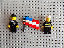 LEGO Firefighter and Policeman Cop Minifigures with American Flag Hero