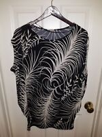LADIES XL BLACK & WHITE DOLMAN SLEEVE TOP