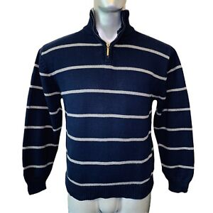 Nautica Quarter Zip Jumper  Boys (14-16) L Large Navy Blue with Hoops Sweater