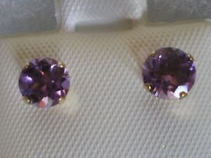 New Genuine Amethyst earrings round 5mm or .80ctw, 14k solid yellow gold