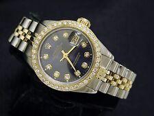 Rolex Datejust Lady 14K Yellow Gold & Steel Watch w/ Blue Diamond Dial 1ct Bezel