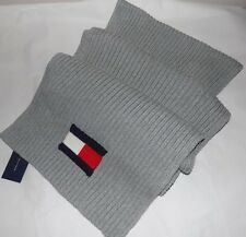 NWT Tommy Hilfiger Men's Winter Solid Knit Logo Scarf  GRAY