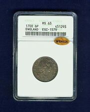 G.B./ENGLAND WILLIAM III 1700  SIXPENCE COIN UNCIRCULATED CERTIFIED ANACS MS63