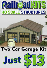 Two Car Garage HO Scale by Railroad Kits - 1950's Style - Value - Lasercut Wood