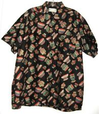 CHALIEO THAI SHIRT BLACK SILK WITH COLORFUL POTS MENS size L 1970's