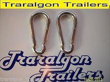 2x snap hooks 8mm  trailer chain boat, caravan, campervan, lock, D shackle L139