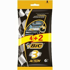 Bic 3 Action Triple Blade Extra Glide Mens Disposable Shaving Razor Blade 6pcs