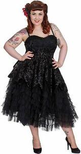 Hell Bunny Gothic Dress Vampire LAVINTAGE Damask Prom Wedding Black XS UK 8