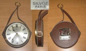 Pendule quartz à suspendre SILVOZ gainée cuir années 70