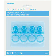 "4 x 2"" Blue Crystal Pacifiers Dummy Baby Shower Favours Gender Reveal Party Boys"