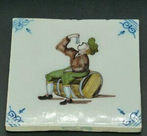 polychrome TILE MAKKUM Tichelaar Delft Holland Tile, Man eating herring barrel