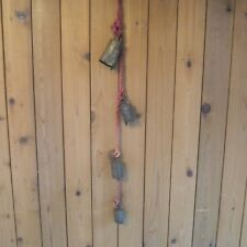 """Vintage Four Metal Chimes 28"""" Tall Rope"""