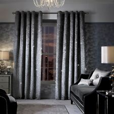 Kylie Minogue Curtains Ready Made Lined Eyelet Ring Top DESIGNER Velvet Grazia Silver 66 X 90 Curtains