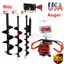 """Gas Powered Post Hole Digger Earth Auger 52cc Powered Engine +4"""" 6"""" 8"""" Bit 2.3hp"""