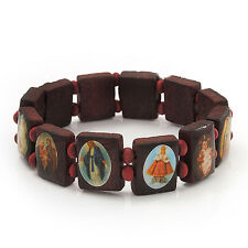 Stretch Brown Wooden Saints Bracelet / Jesus Bracelet / All Saints Bracelet - Up