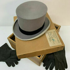 VINTAGE Grey TOP HAT by WOODROW of Piccadilly London with MATCHING GLOVES 2 pair