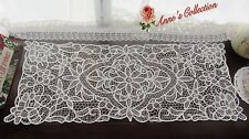 ONE Beautiful Battenburg Lace Table Runner/Dresser~White~Cotton~Rose&Daisy~