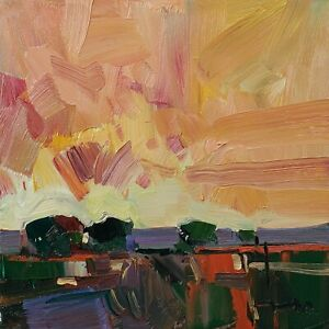 JOSE TRUJILLO Oil Painting IMPRESSIONISM LANDSCAPE SUNSET SKY COLLECTIBLE ART