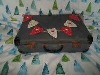 "Time Worn Retro 17.5"" Blue Checked Suitcase - Vintage Wedding - Prop - Display"