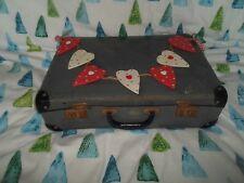 """Temps porté rétro 17.5"""" bleu carreaux valise-Vintage Wedding-PROP-Display"""